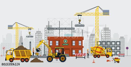 prace na budowie z zastosowaniem sprzetu
