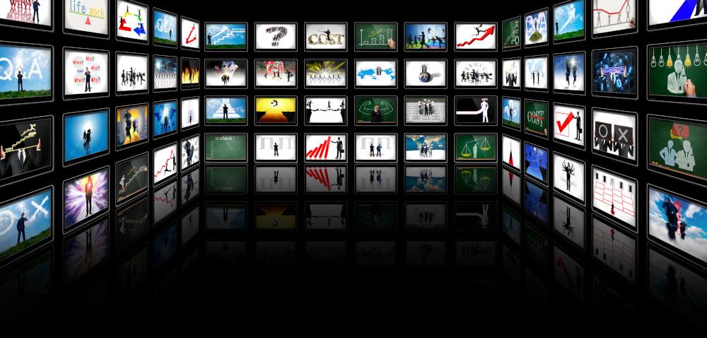 reklama wyświetlana na wielu monitorach